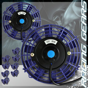 2x-JDM-7-Blue-1500-CFM-2250-RPM-Electric-Cooling-Slim-Push-Pull-Radiator-Fan