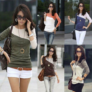 New-Women-Lady-Fashion-Long-Sleeve-Crew-Neck-T-Shirt-T-Shirt-Tops-Blouse-Tee-M-L