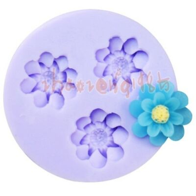 Flower 3 Cavities Flexible Silicone Mold Mould For Resin Polymer Clay Fimo Craft on Rummage