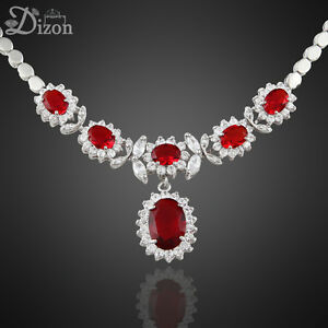 Engagement-Party-Jewellery-Oval-Cut-Stone-18K-White-Gold-Plated-Pendant-Necklace
