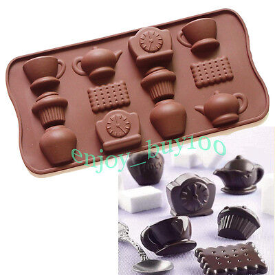 Minifigure chocolate Teacup Teapot Clock TRAY CANDY MOLD SILICONE TEA TIME on Rummage