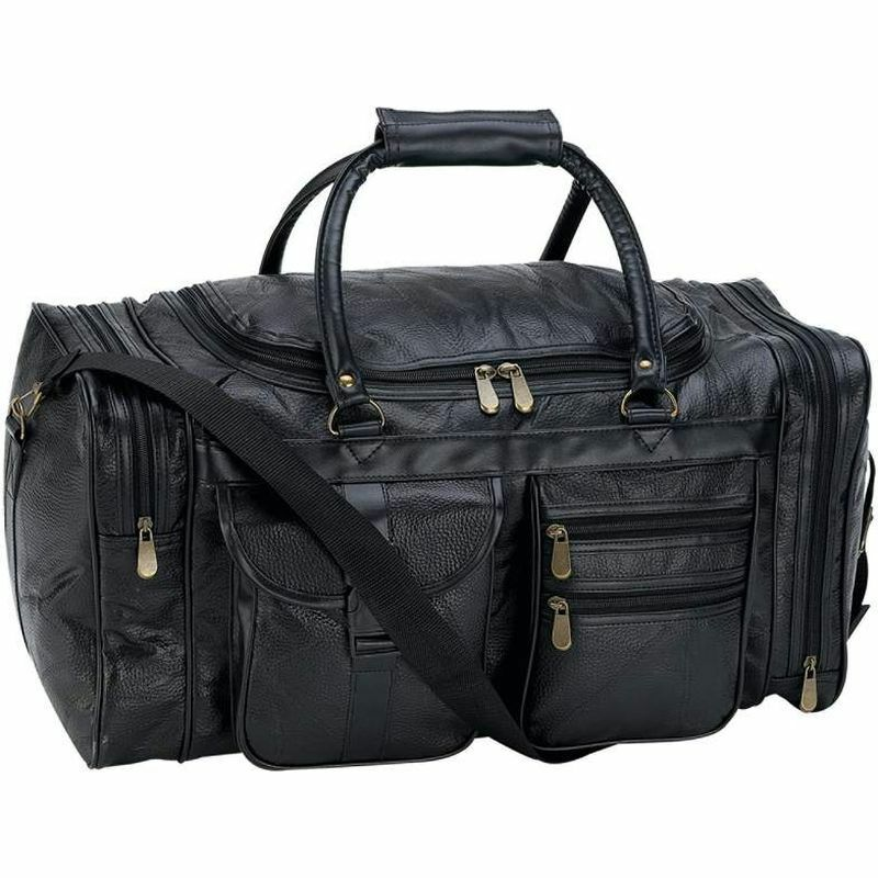Black 21 Leather Travel Duffle Bag, Overnight Case Carry-on Mens Tote Suitcase