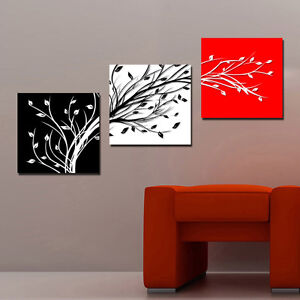 Abstract art tree branches red black white modern canvas - Imagenes para cuadros decorativos ...