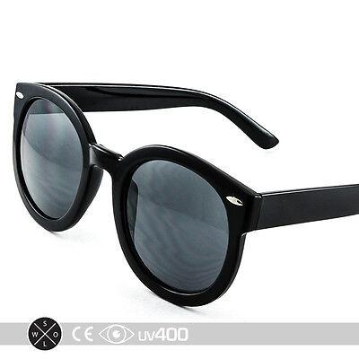 Black Unisex Modern Nostalgic Round Circle Sunglasses P3 Indie Fashion (Nostalgic Sunglasses)