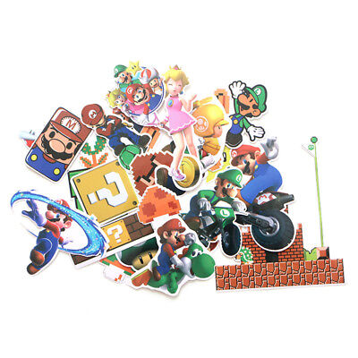 Super Mario Brothers Decal Stickers Random Assorted Lot Of 29 Pieces (Super Mario Brothers Stickers)