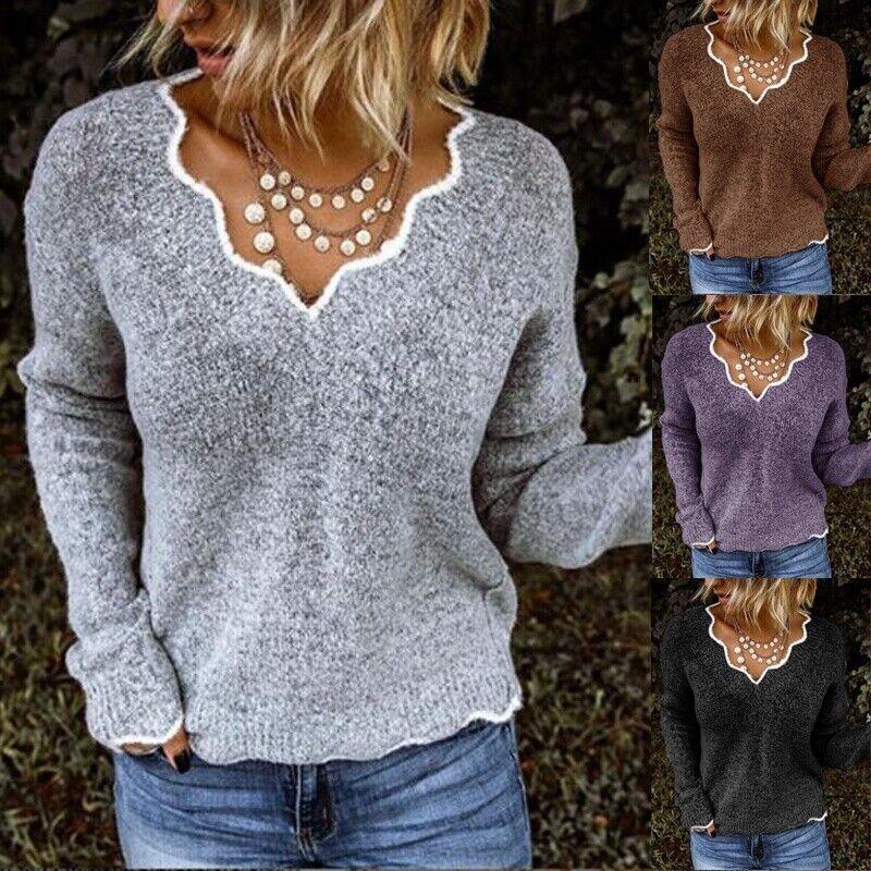 Fall Winter Womens Tops Fashion Knitwear Sweaters Casual Pul