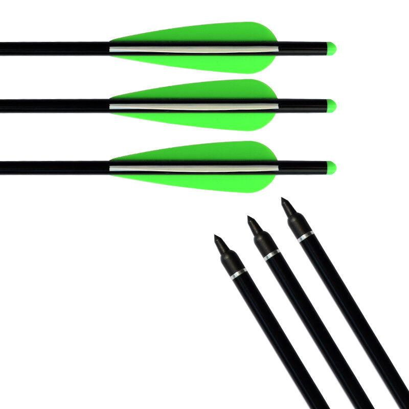 6X Aluminum Arrow Crossbow Bolts 100gr Tips With Aluminum Half Moon Nocks HC