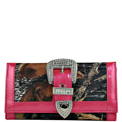 HOT PINK MOSSY CAMO RHINESTONE BUCKLE LOOK CHECKBOOK TRIFOLD WALLET WESTERN Pink Rhinestone Buckle