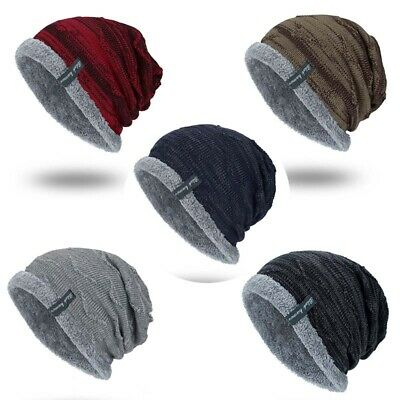 Soft Cap Striped Men's Toboggan Winter Knit Slouchy Work Hat Warm Ribbed -
