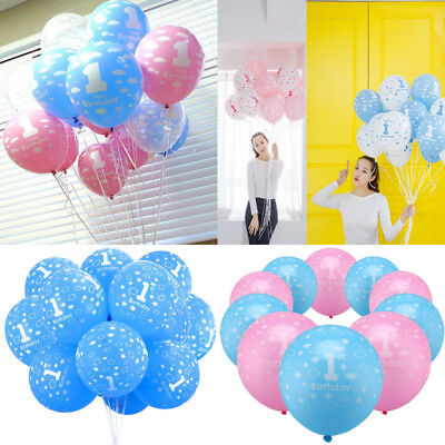 10pcs Party Printed Boy First Birthday Baby Girl Ballons Hot 1st Number 1 - 1st Birthday Balloons