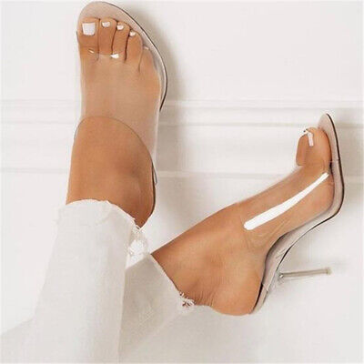 Women PVC Apricot Slippers Transparent High Heels 11CM Clear Fashion Sandals NEW ()