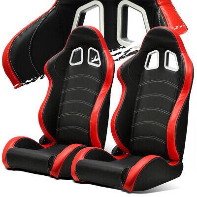 - Black/Red PVC Leather/White Stitch Left/Right Recaro Style Racing Seats Slider