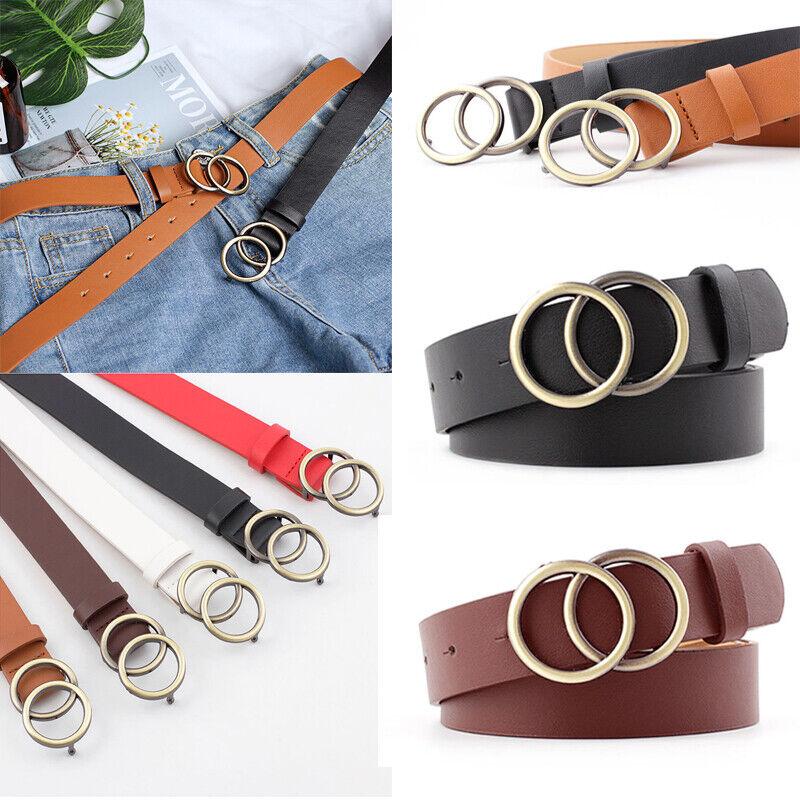 Fashion Pearl Decor Thin Belt Round Pin Buckle Women Casual PU Leather Waistband