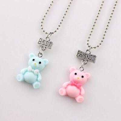 2PCS Kids Best Friends Cartoon Bear Necklace Pendant Necklaces For Children (2 Best Friends Cartoon)