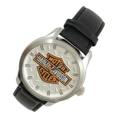 Harley-Davidson® Mens Bulova  B&S with Diamond Plate Background Black Band