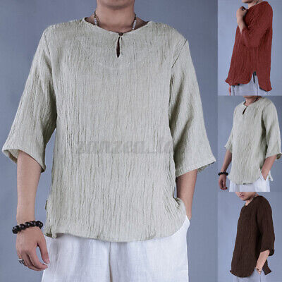 INCERUN Men's 100%Cotton T-Shirt Casual V-Neck Short Sleeve Shirt Tops Beach Tee