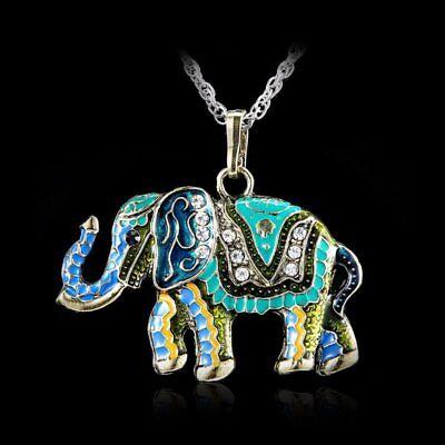 Elephant Pendants (Crystal Colorful Necklace Cute Elephant Retro Fashion Sweater Chain Pendant)