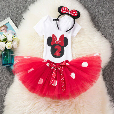 Baby Minnie Mouse Red Girl 2nd Second Birthday Tutu Outfit Shirt Set [O58]](Minnie Mouse Outfit Baby)