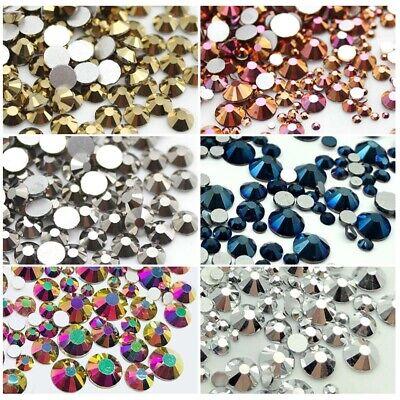 Metallic Color Crystals Glass Flatback Nail Art Rhinestones Clothes Decorations - Metallic Decorations