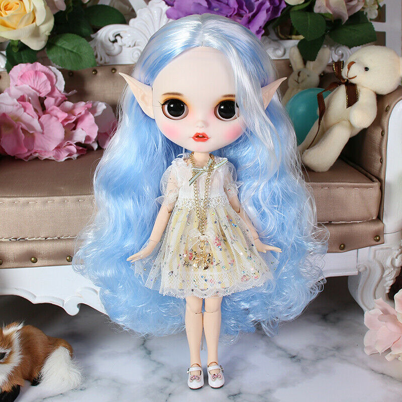 Blythe Nude Doll from Factory Blue White Hair Eyebrow Small Mouth+Rabbit Tooth