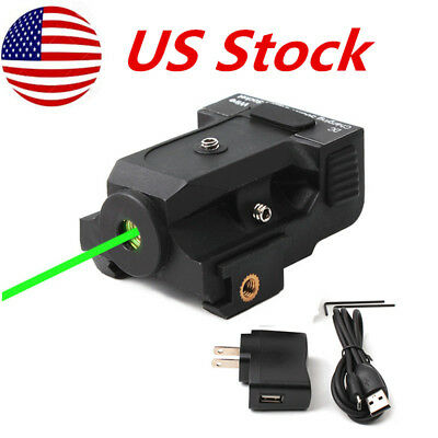 Compact Tactical Green Laser (Tactical Green Laser Sight 50-100M for Sub-compact Pistols w/USB Rechargeable US )