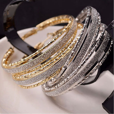 (Crystal Rhinestone Large Big Ear Hook Hoop Earrings Fashion Women Jewelry)
