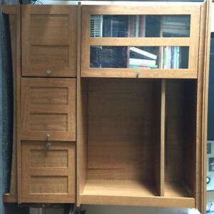 NEW PRICE: Oak Finish Entertainment Unit