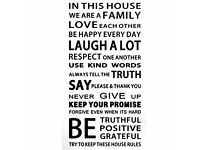 BRAND NEW wall stickers family rules