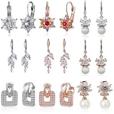(Fashion Zircon Crystal Flower Tassels Women Ear Drop Dangle Earrings Jewelry New)