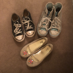 Lot of 3 Pairs of Girls Shoes: Converse, Sketchers, & GAP