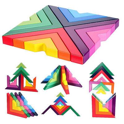 Novelty Wooden Rainbow Building Blocks Baby Educational Toys