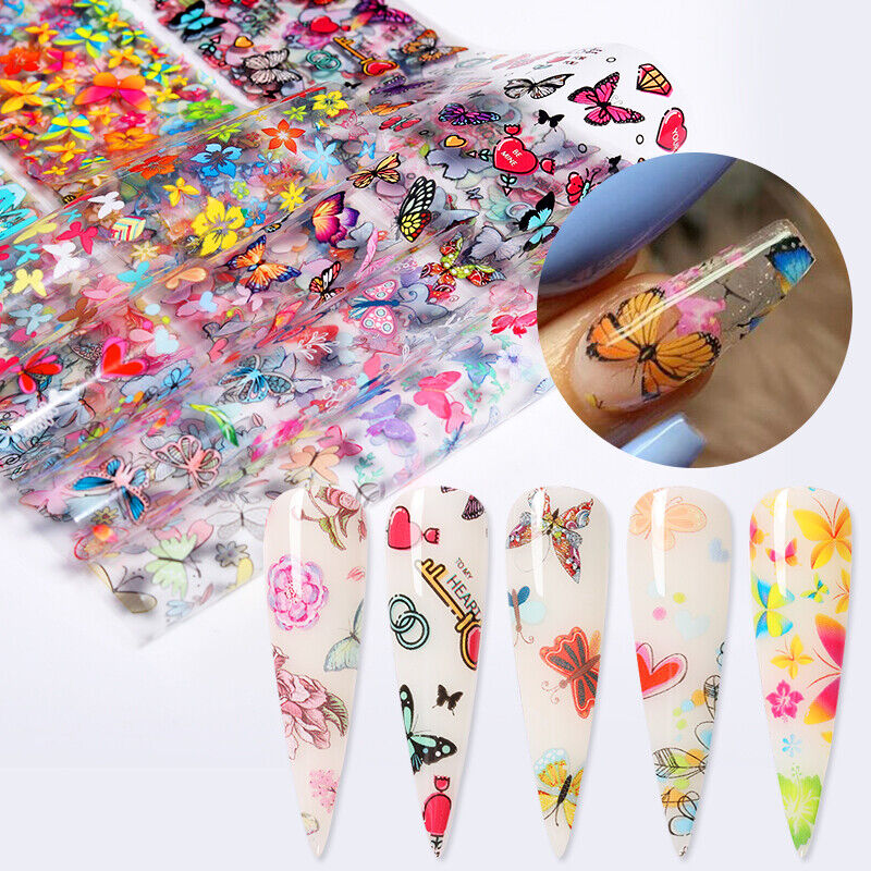10 Rolls Nail Foil Stickers Flowers Butterfly Transfer Decal