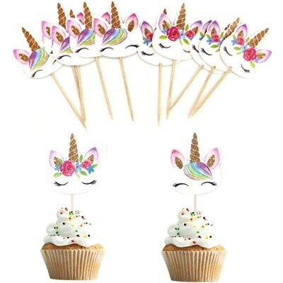 24Pcs Unicorn Cupcake Topper Pick Wedding Baby Shower Birthday Party Cake Decor