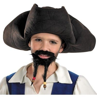 DISNEY PIRATES OF THE CARIBBEAN JACK SPARROW HAT MUSTACHE GOATEE BEARD COSTUME (Pirates Of The Caribbean Jack Sparrow Costume)