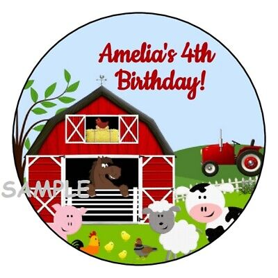 12 Personalized Farm birthday party stickers barn animals favors labels tags  (Farm Party Favors)