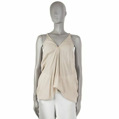 53912 auth RICK OWENS beige silk DRAPED Tank-Top Sleeveless Shirt XS
