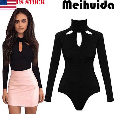 USA Women Ladies Bodysuit Stretch Leotard Long Sleeve Body Tops T shirt Jumpsuit