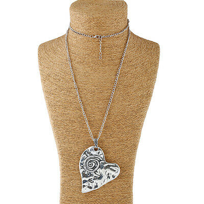 Abstract Heart Necklace - Large abstract metal spiral heart pendant & long chain necklace silver lagenlook