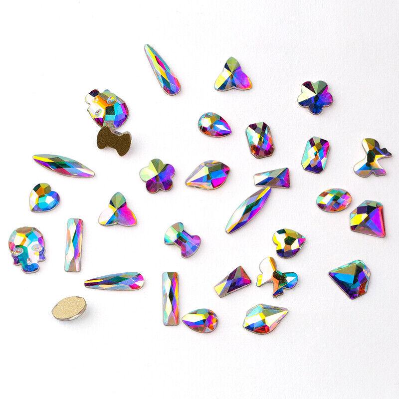 20 50pcs Nail Art Rhinestones Flatback Glitter Crystal Gem 3d Tips Diy Decoratio