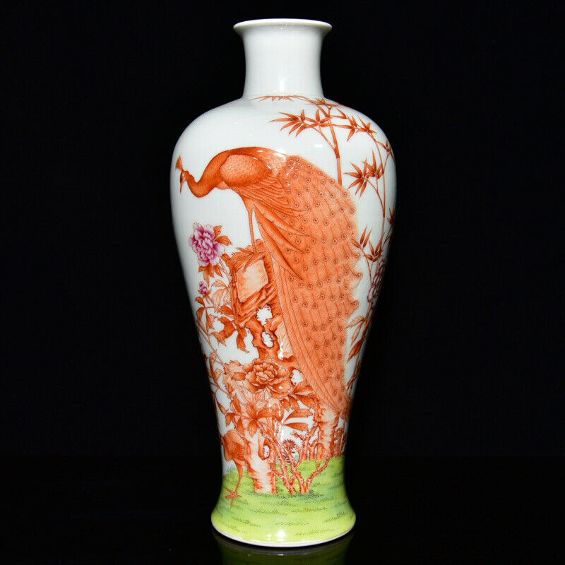 Chinese Porcelain Handmade Exquisite Peacock Vase 17082