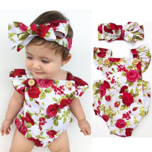 Neonato Bambina Rosa Floreale Tuta Intera Tutina Body bebè + Fascia per capelli