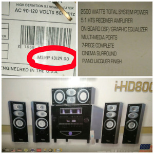 """tube amplified 5.1 surrou sound w/built in 10"""" powered subwoofer"""