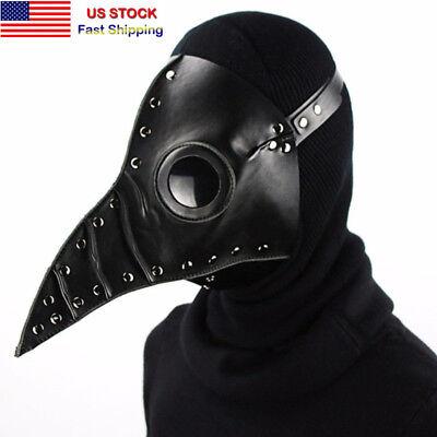 Steampunk Retro Punk Plague Doctor Mask Bird Beak Black Gothic Halloween Cosplay