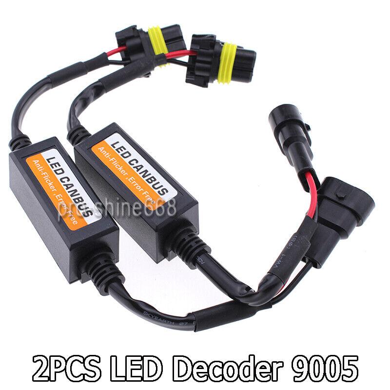 2pcs 9006 9005 LED DRL HID Headlight Canbus Anti-Flicker Load Resistor Decoder