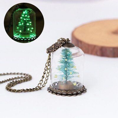Glow In The Dark Snowflakes (Glow In the Dark Snowflake Christmas Tree Glass Bottle Necklace Luminous)