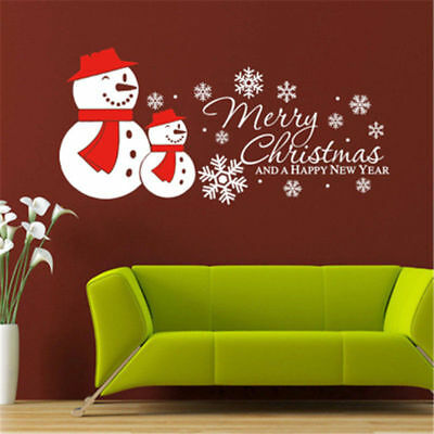 Window Removable Snowman Wall Stickers  for Merry Christmas Happy New Year Decor