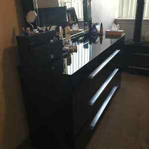 Class black and with big mirror dresser with free side table
