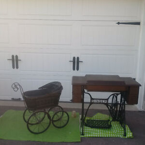 ANTIQUE SINGER TREADLE SEWING MACHINE + ANTIQUE DOLL CARRIAGE +
