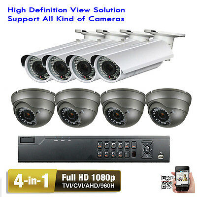 8CH H.264 1080P DVR 4-in-1 2.6MP 2.8-12mm Varifocal Ls Security Camera Sys MO)