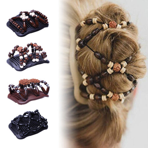 Women Retro Magic Beads Stretch Double Hair Comb Clip Hairpi